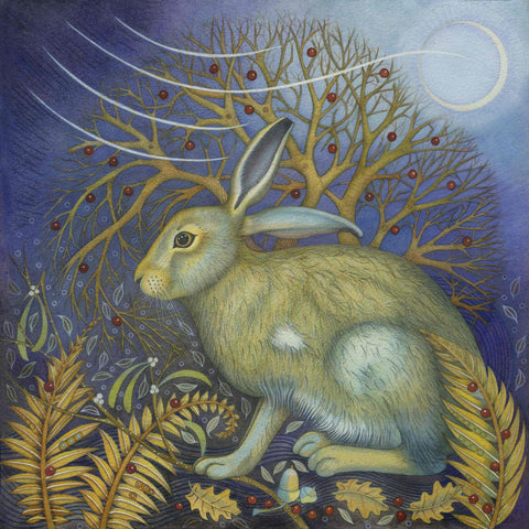 Fine Art Greeting Card by Kate Green, Mixed Media, Hare
