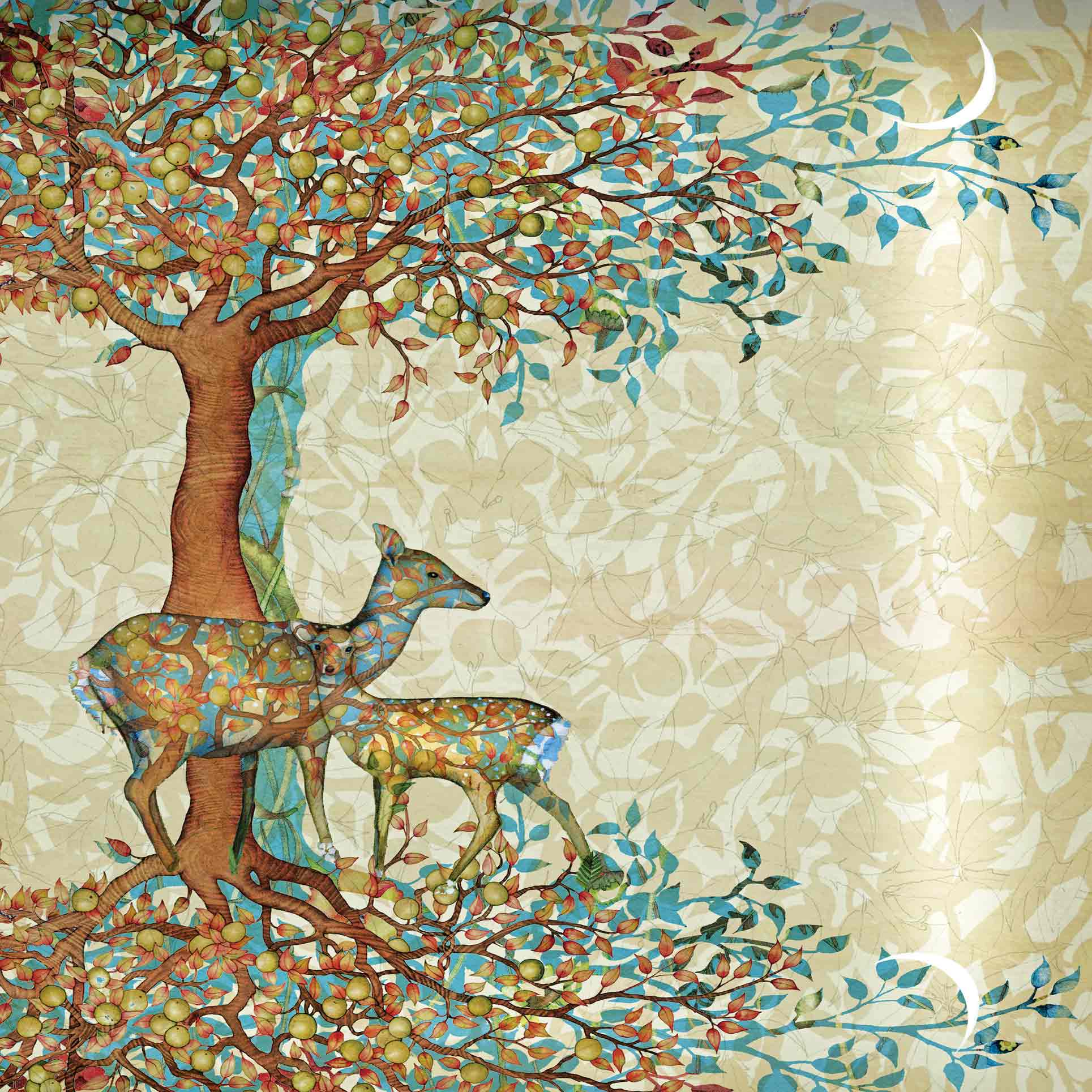 Art Greeting Card by Kate Green, Deer and Fawn, Digital Collage, Deer and fawn under a tree