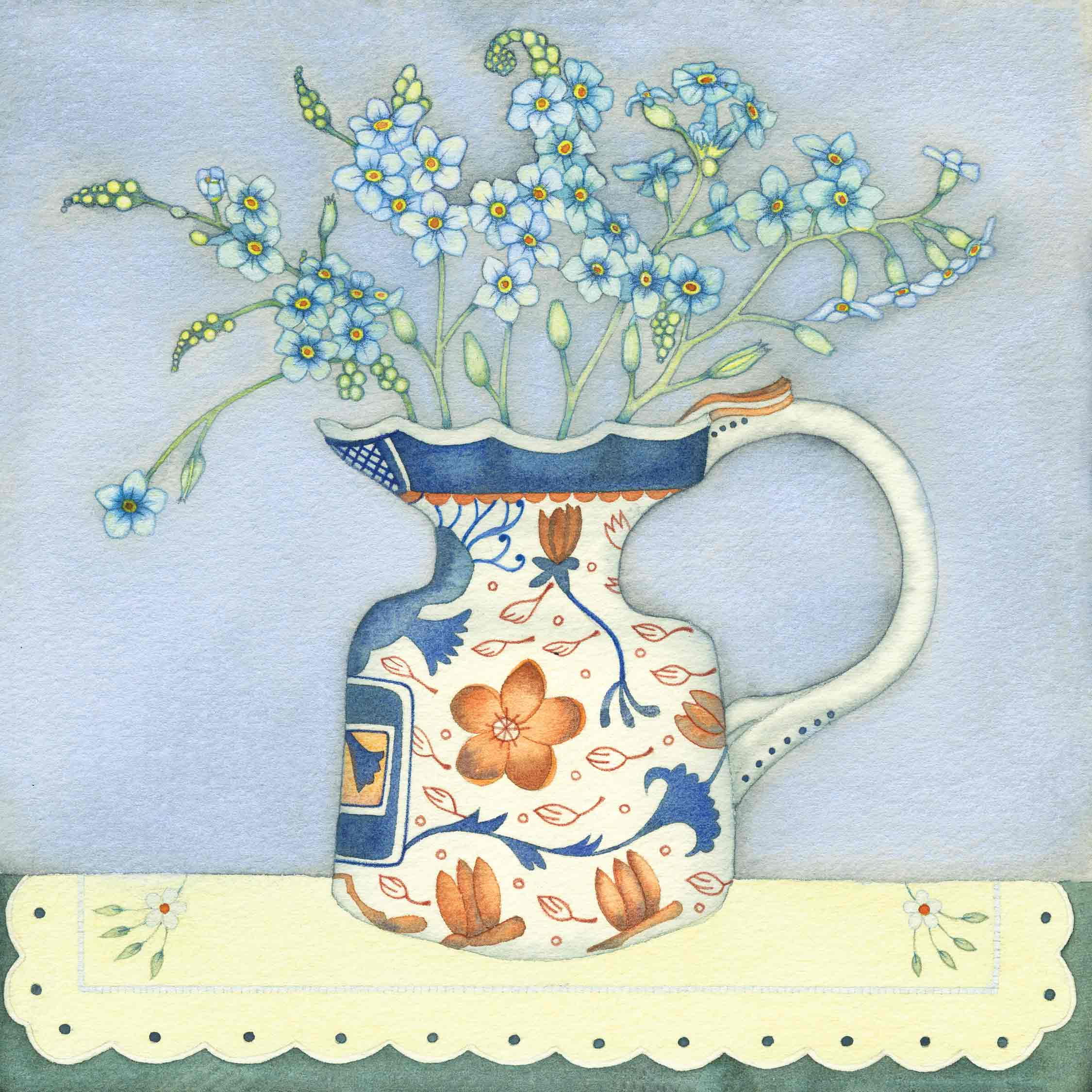 Art Greeting Card by Kate Green, Forget-me-nots, mixed media, forget-me-nots in jug