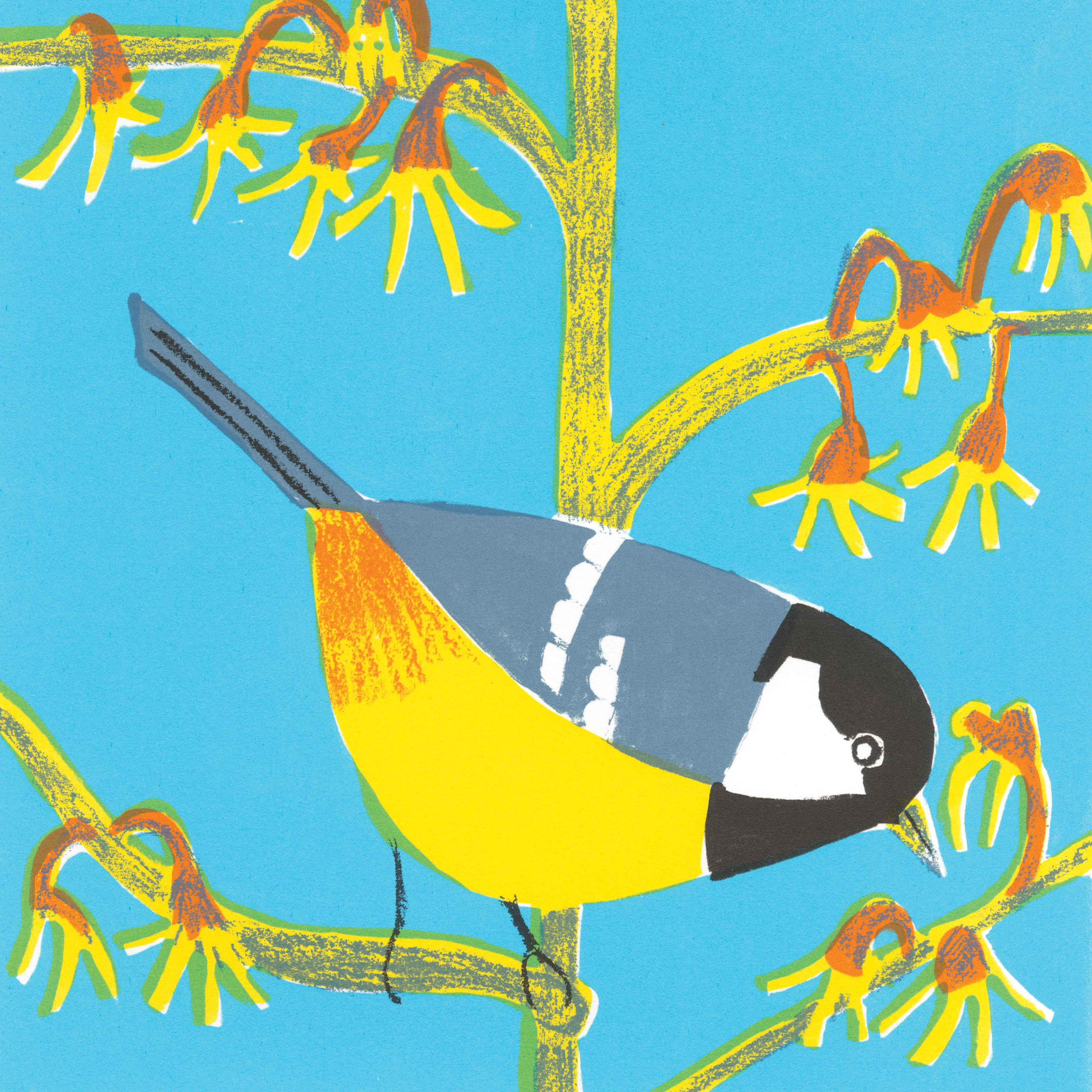 Coal Tit by Kittie Jones, Art Greeting Card, Screenprint, Coal tit sitting on a branch