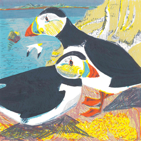 Art Greeting Card by Kittie Jones, Puffins, Screenprint, Two puffins on a cliff