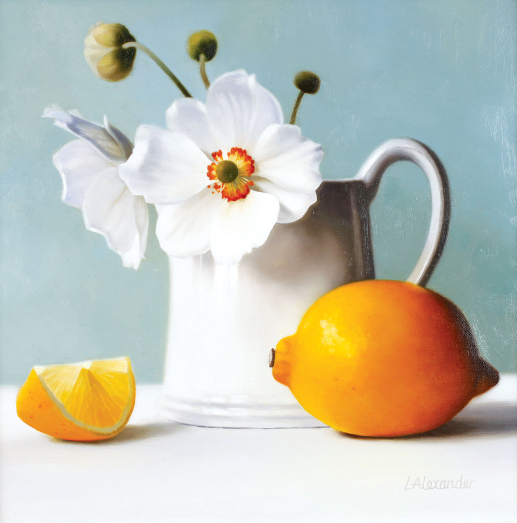 Still Life with Anemones by Linda Alexander, Prize winner, Fine Art Greeting Card, Still life with jug of anemones and lemon