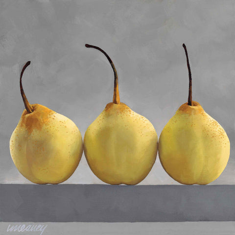 Chinese Pears by Linda Alexander, Fine Art Greeting Card, Oil, Three chinese pears