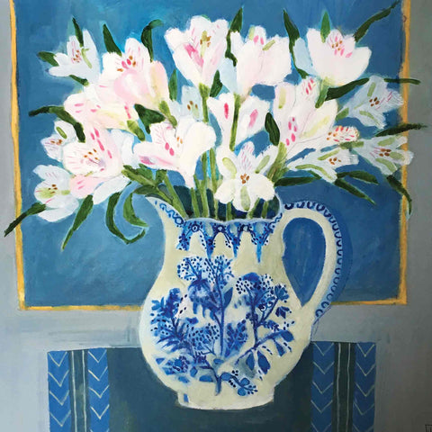 Art Greeting Card by Jill Leman, Peruvian Lillies, Acrylic on board, Lillies in vase on table