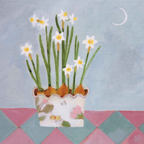 Art greeting card by Jill Leman, acrylic, daffodils in pot on table