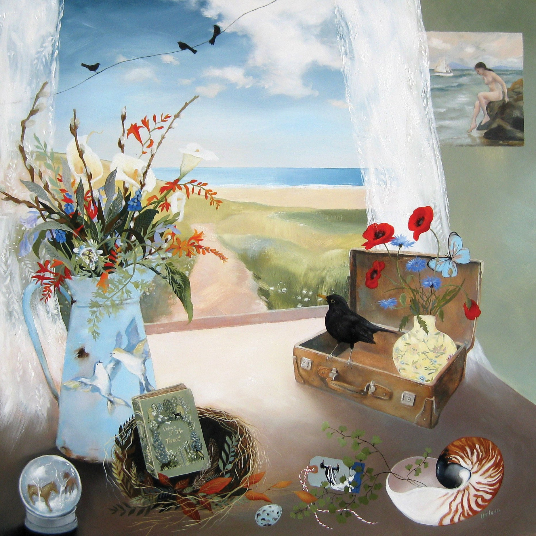 First Day of Summer by Lesley McLaren, Fine Art Greeting Card, Oil on Gesso Panel, Window scene with flower vases, birds, nests, shells
