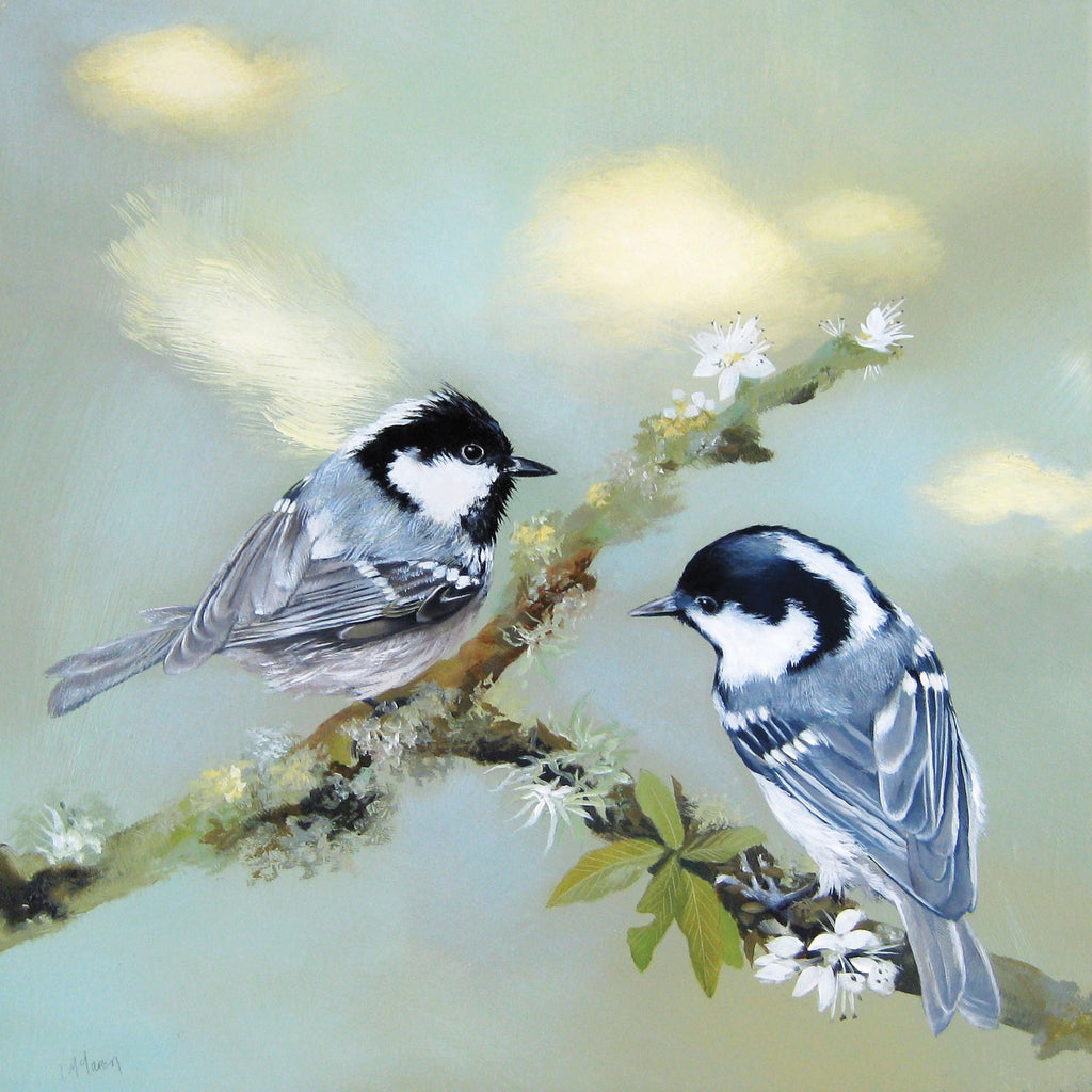 Coal Tits by Lesley McLaren, Fine Art Greeting Card, Oil on Gesso Panel, Coal tits on twigs