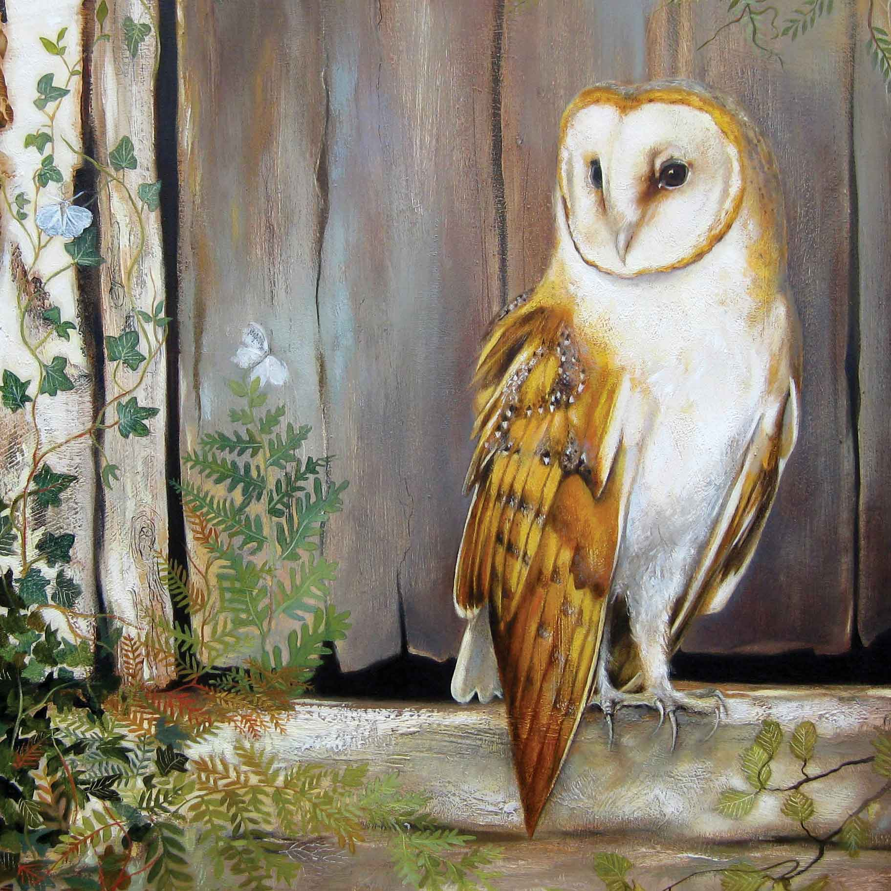 Owl by the Barn Door by Lesley McLaren, Fine Art Greeting Card, Oil, Owl by door