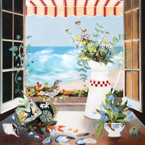 Art greeting card by Lesley McLaren, a window still life with flowers and the sea outside the window