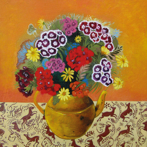 Art Greeting Card by Lesley McLaren, Sweet Williams in a Yellow Teapot, Oil on Gesso, Teapot with flowers