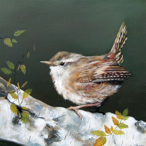 Fine Art Greeting Card, Oil on Gesso Panel, Wren on a branch