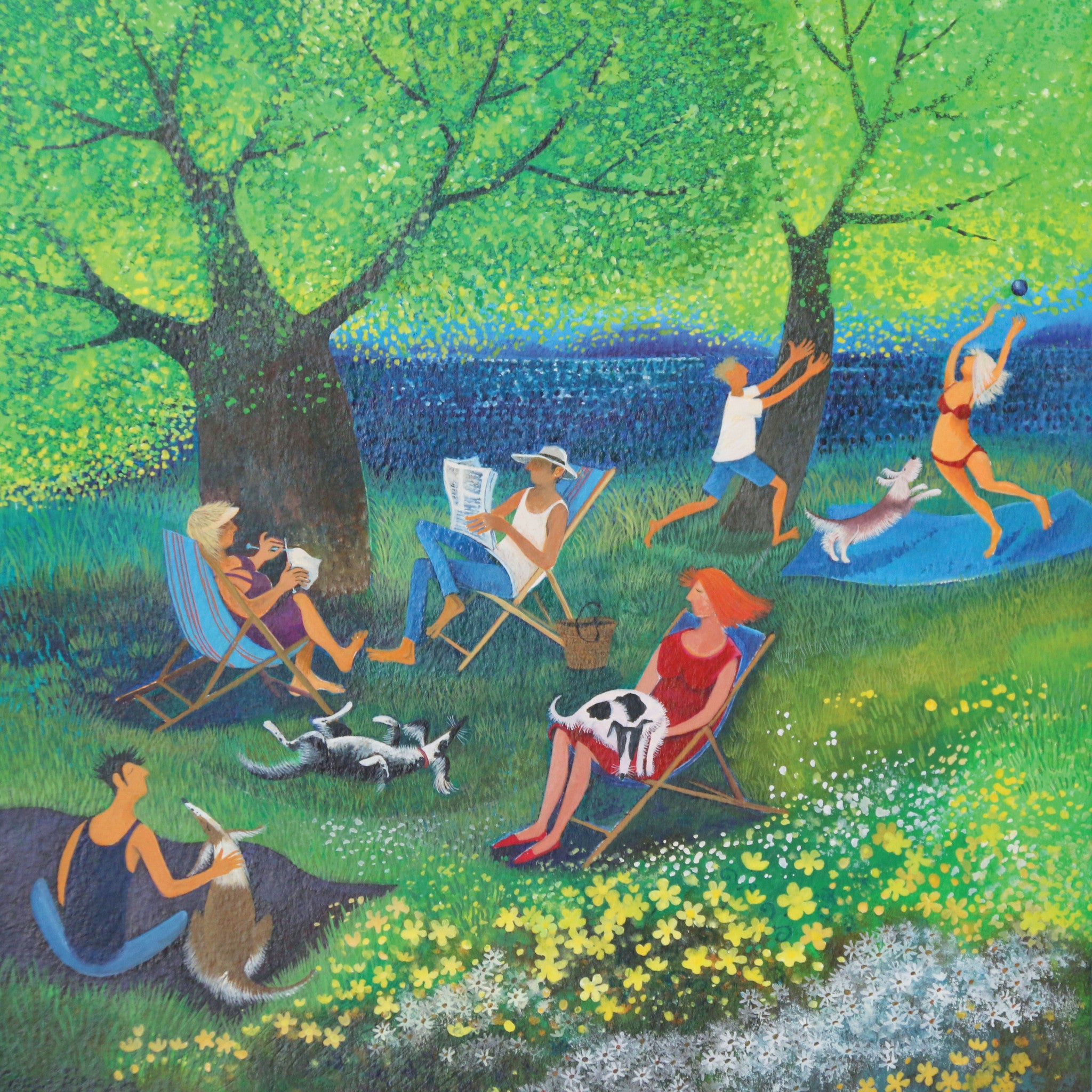 Chilling out by Lisa Graa Jensen, Fine Art Greeting Card, Summer park scene with people and dogs