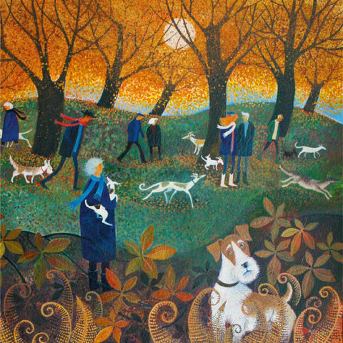 Hide and Seek by Lisa Graa Jensen, Prize winner, Fine Art Greeting Card, People and dogs in Autumn park