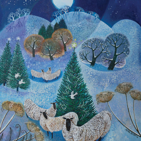 Fine Art Greeting Card by Lisa Graa Jensen, Acrylic Inks, Winter landscape with sheep and trees
