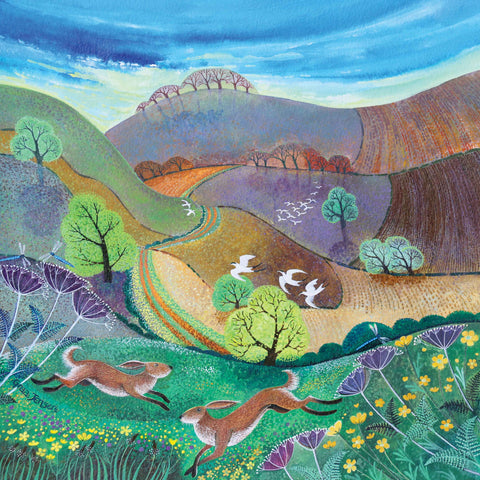 Downland Hares by Lisa Graa Jensen, Fine Art Greeting Card, Acrylic inks, Two hares in field