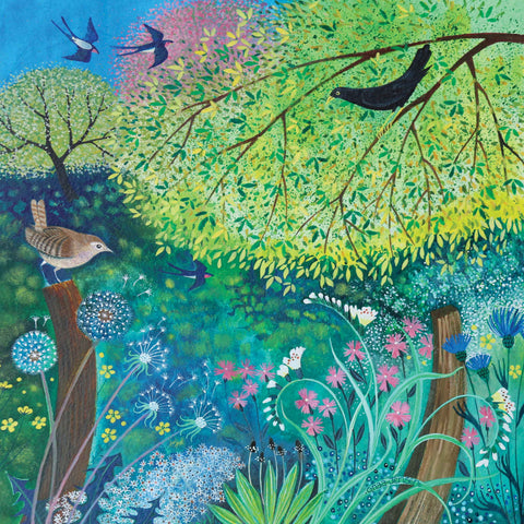Jenny's Garden by Lisa Graa Jensen, Fine Art Greeting Card, Acrylic Inks, Spring garden with birds and flowers