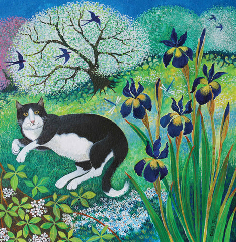 Kit's Garden by Lisa Graa Jensen, Fine Art Greeting Card, Acrylic Inks, Cat in the garden with swallows and irises