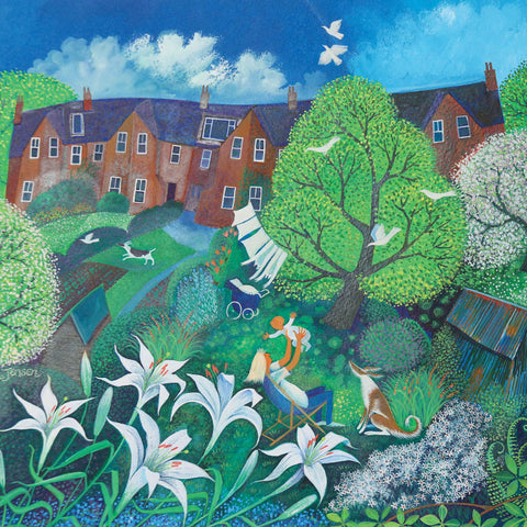 Mother's Day by Lisa Graa Jensen, Fine Art Greeting Card, Acrylic Inks, Mother and baby in garden