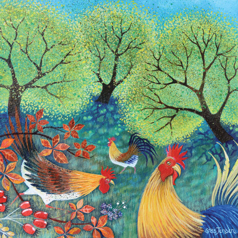 Peeky Hen by Lisa Graa Jensen, Fine Art Greeting Card, Acrylic Inks, Chickens in the garden