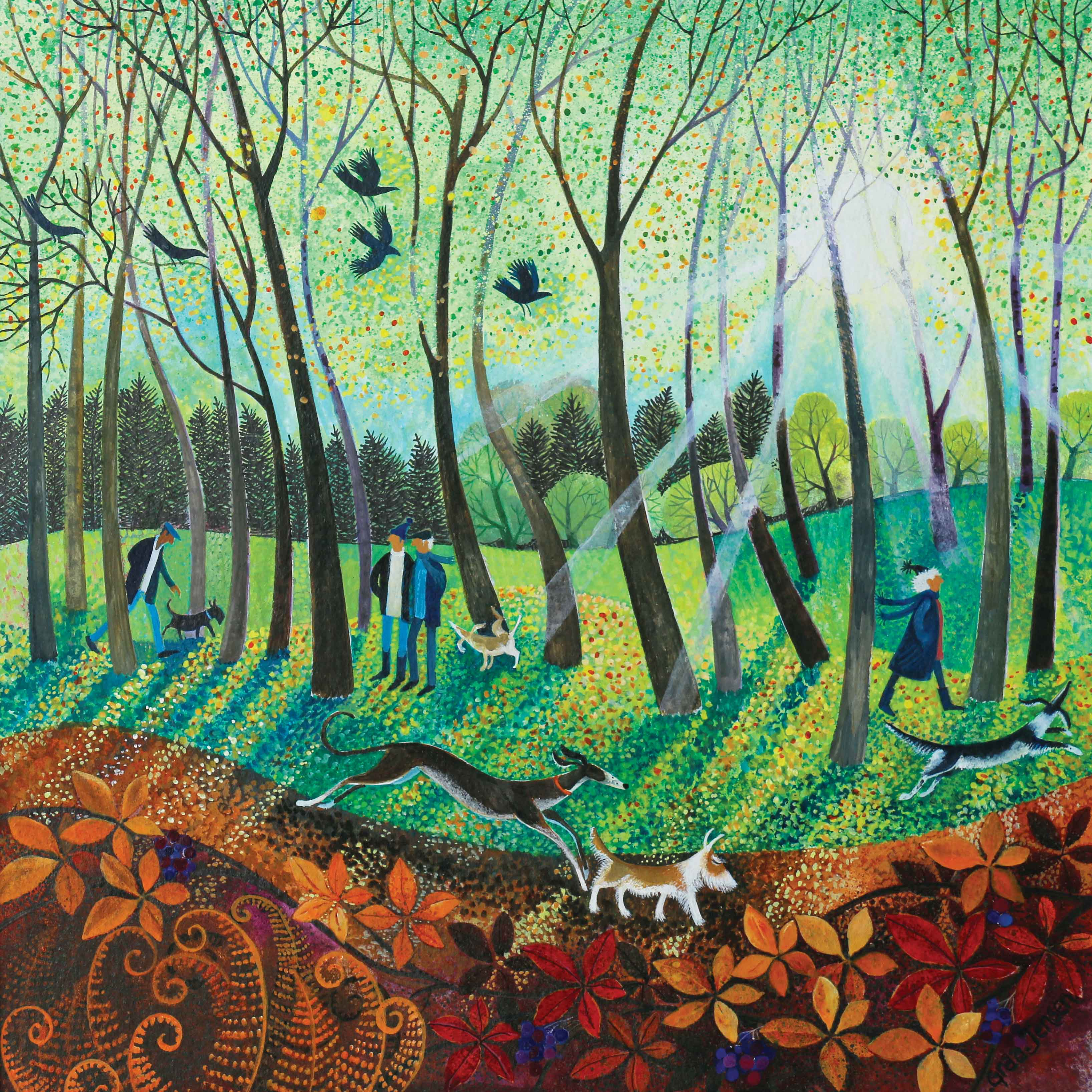 Art greeting card by Lisa Graa Jensen, Morning Rays, acrylic inks, people walking dogs in park with sun rays through trees