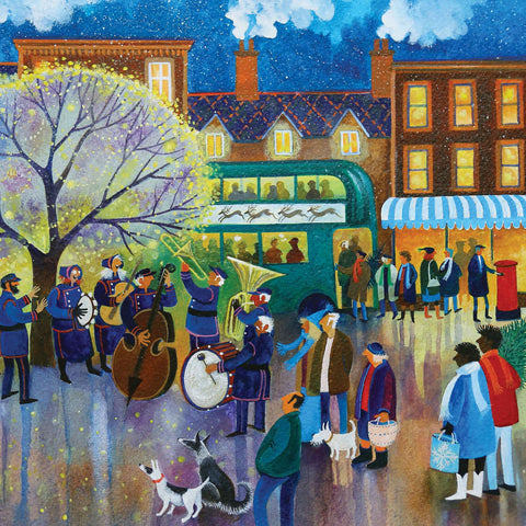 Art greeting card by Lisa Graa Jensen, Glory Be, acrylic inks, town winter and christmas scene with brass band playing and people watching