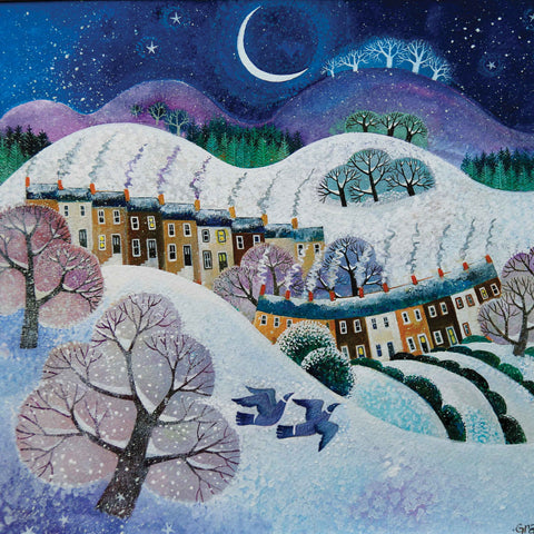 Art greeting card by Lisa Graa Jensen, Snowfall, acrylic inks, winter landscape with moon, trees, houses, two pigeons flying