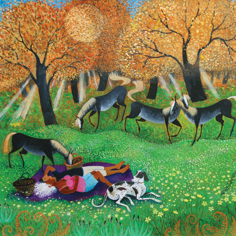 Art greeting card by Lisa Graa Jensen, couple lying down in a field on a blanket with a dog and horses