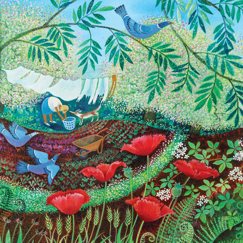 Art greeting card by Lisa Graa Jensen, wood pigeons and poppies in the garden