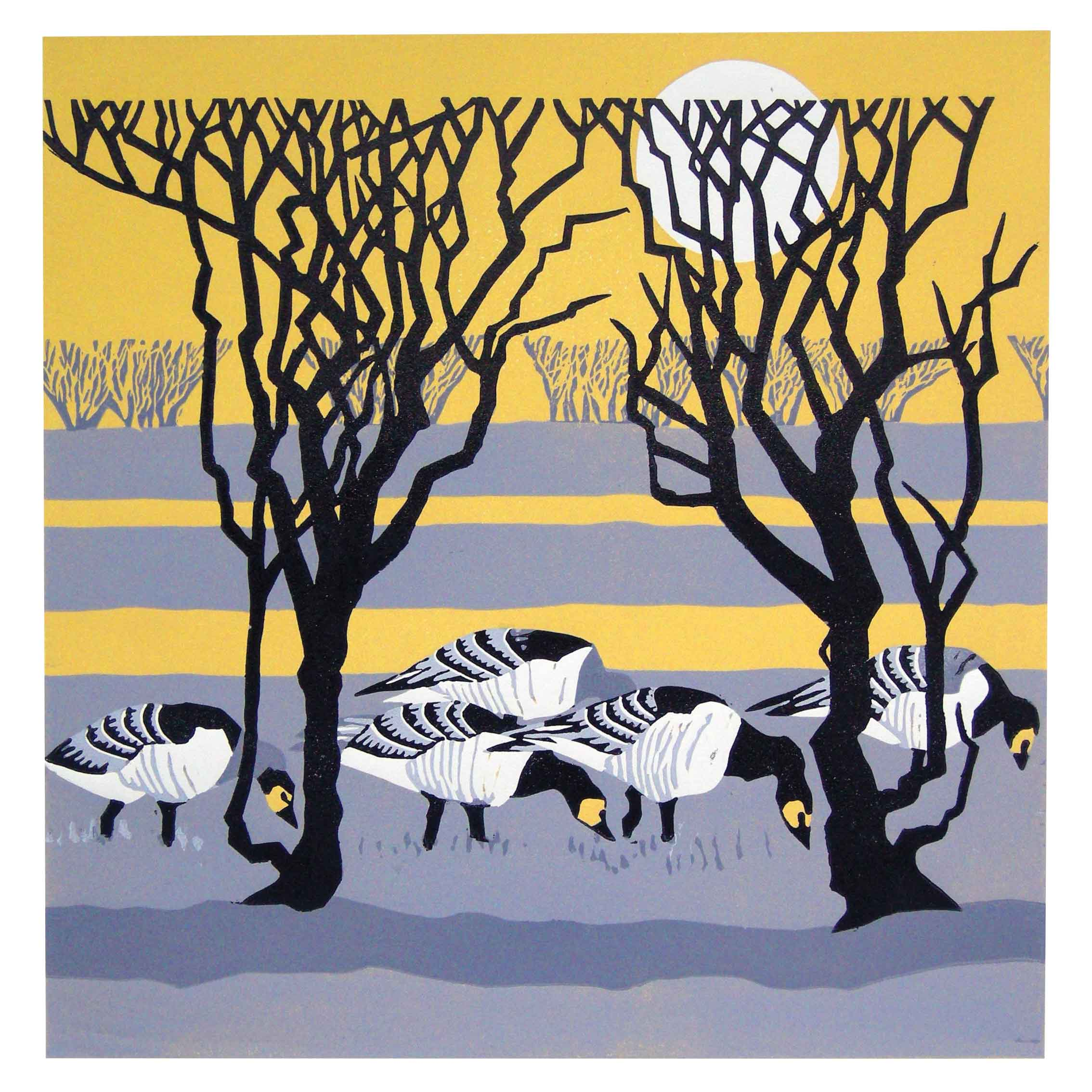 Art greeting card by Lisa Hooper, linocut, geese in the field under the trees