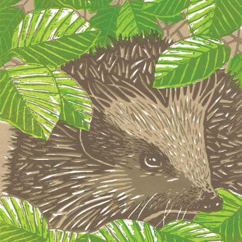 Beneath the Spring Beech by Little Ram Studio, Art Greeting Card, Linocut, Hedgehog in leaves