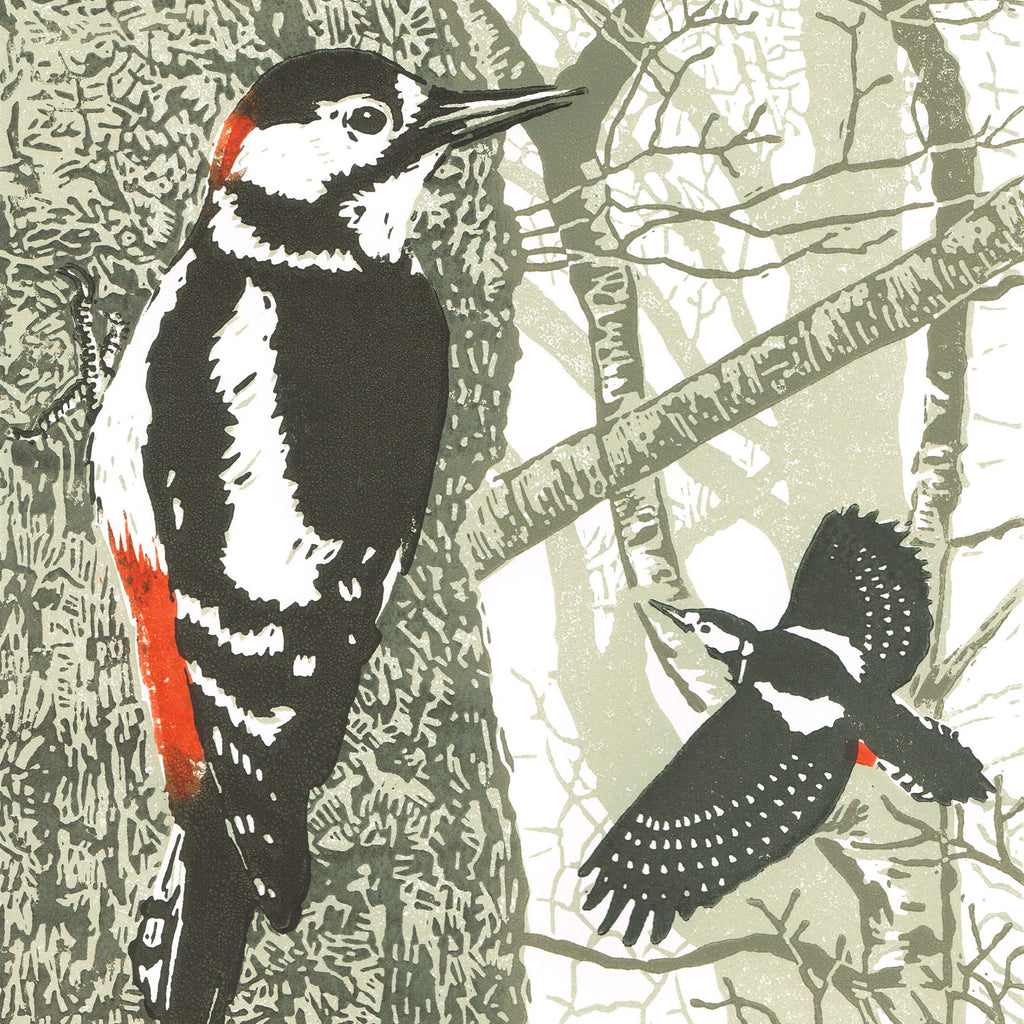 The Rhythm of the Wild Wood by Little Ram Studio, Art Greeting Card, Linocut, Great Spotted Woodpeckers