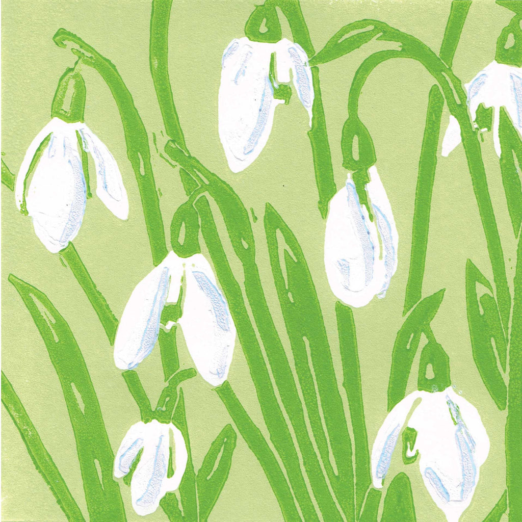 The First Snowdrops by Heather Ramskill, Art Greeting Card, Linocut, Snowdrops
