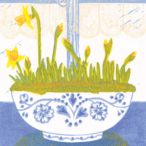 Potted Spring Joy by Heather Ramskill, Art Greeting Card, Linocut, Potted daffodils