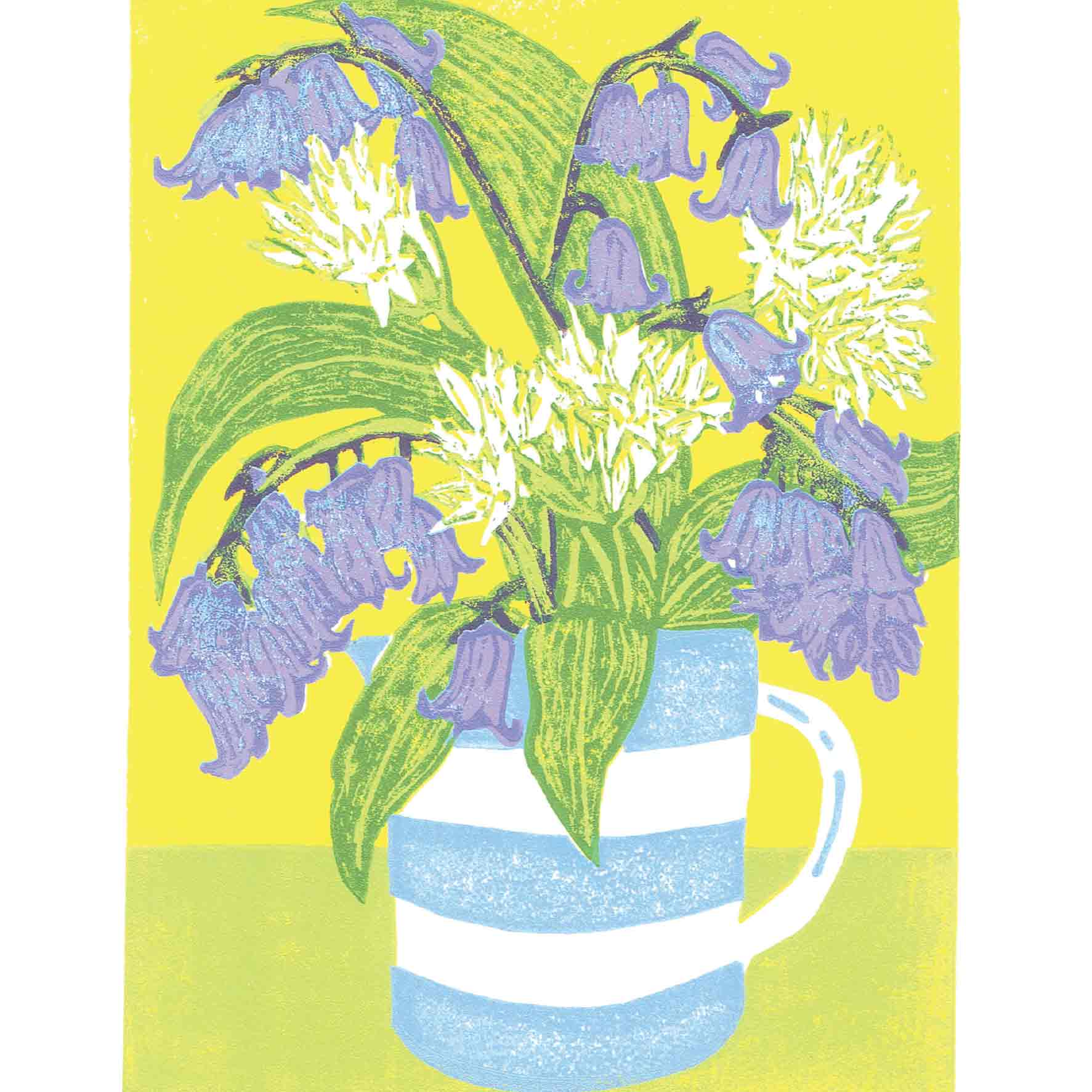 Art Greeting Card by Heather Ramskill, Bluebells and Ramsons, Linocut, Flowers in jug