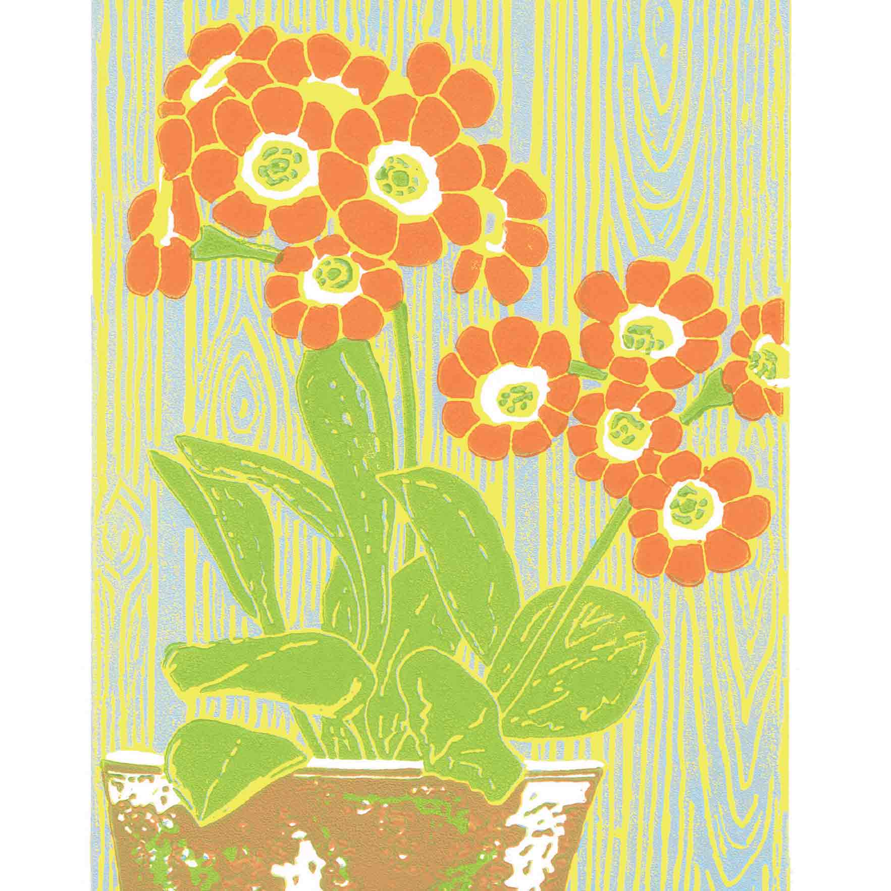 Art Greeting Card by Heather Ramskill, Linocut, Dusky Orange Auricula, Linocut, Orange auricula in pot