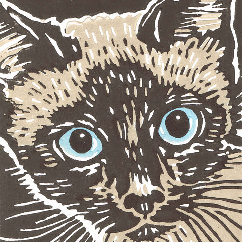 Siamese Cat by Gary Ramskill, Art Greeting Card, Linocut, Siamese cat close up