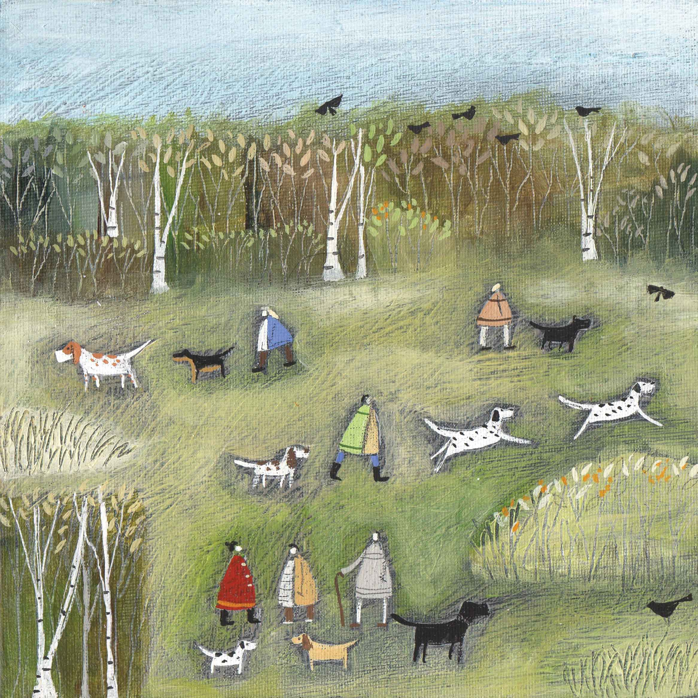 A Mid Morning Meetup by Louise Rawlings, Art Greeting Card, Gouache and Acrylic, Dogs and owners in the park