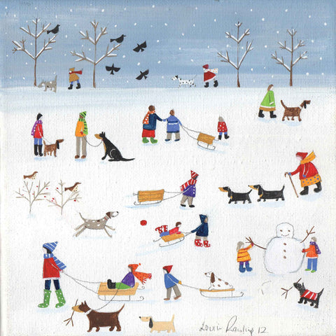 Fine Art Greeting Card by Louise Rawlings, Gouache and Acrylic, Dog in red coat in the snow and people in the snow