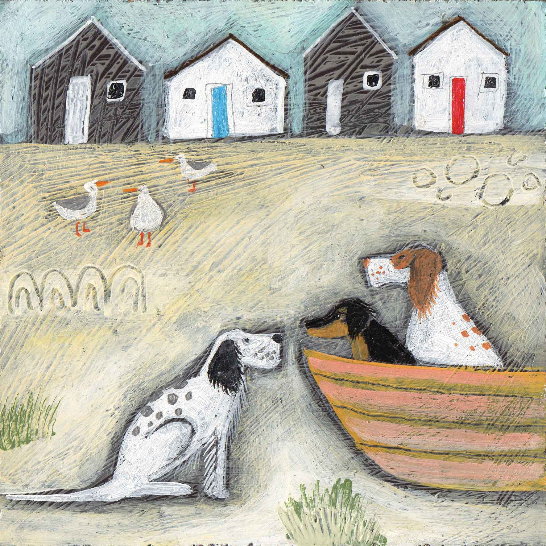 Two in a Boat by Louise Rawlings, Art Greeting Card, Gouache and Acrylic, Dogs in boat, seagulls and cottages