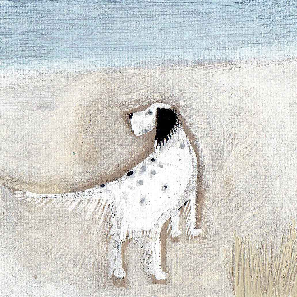 Alfie by Louise Rawlings, Art Greeting Card, Gouache and Acrylic, Dog on beach