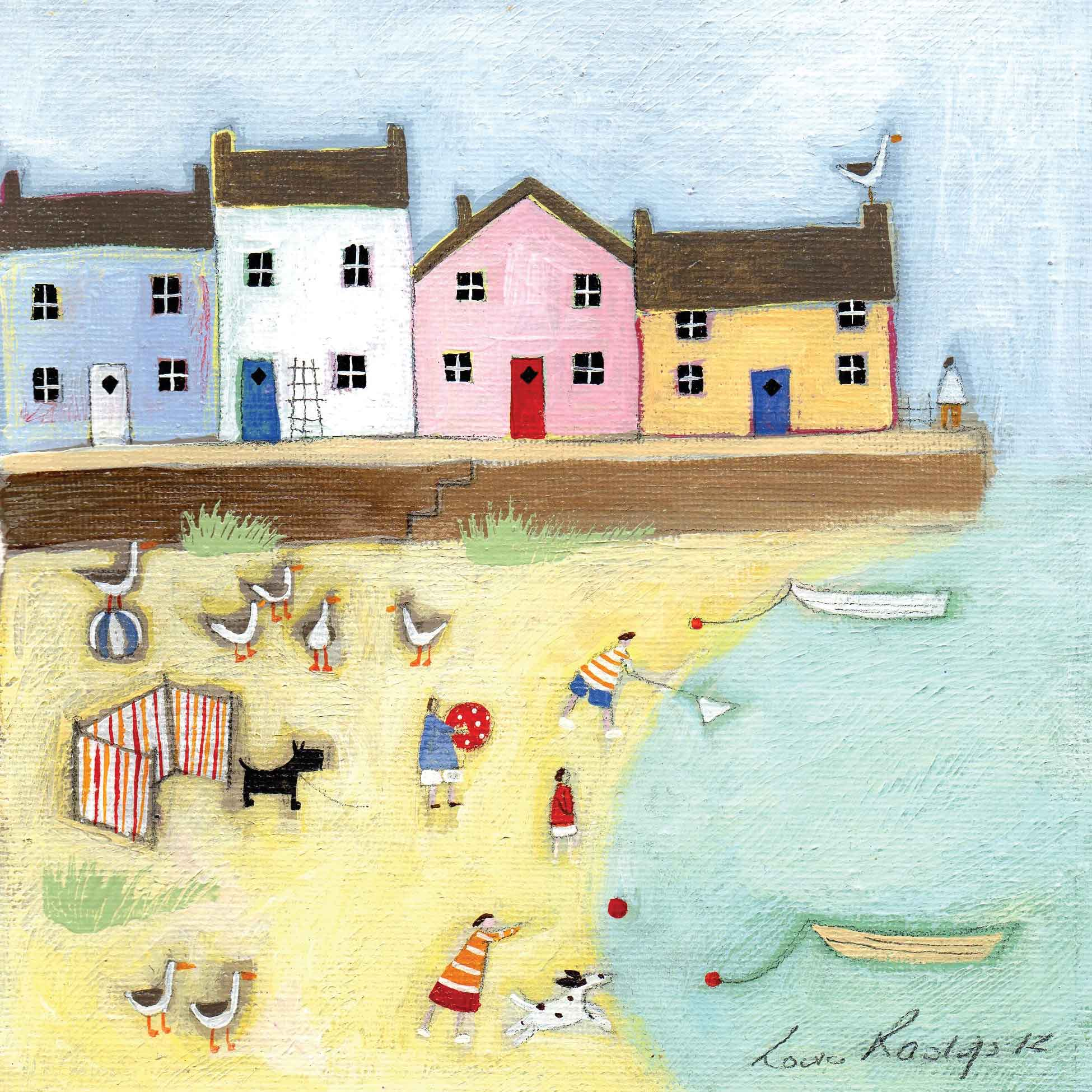 Little Harbour by Louise Rawlings, Art Greeting Card, Gouache and Acrylic, Beach scene with houses, people, dogs, boats and birds