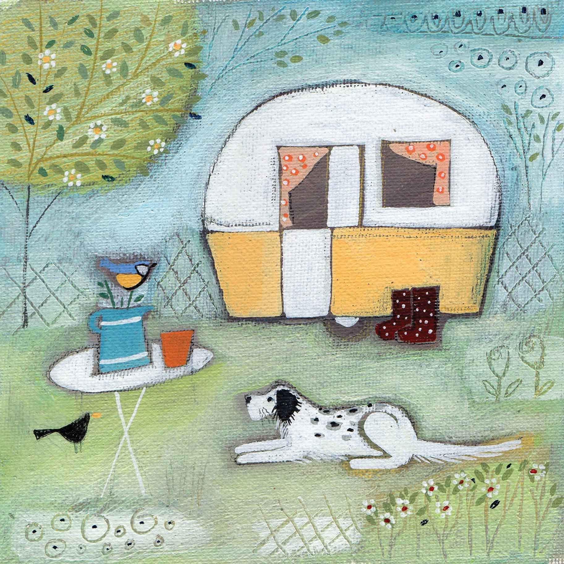 Alfie and the Van by Louise Rawlings, Art Greeting Card, Gouache and Acrylic, Dog, birds and caravan