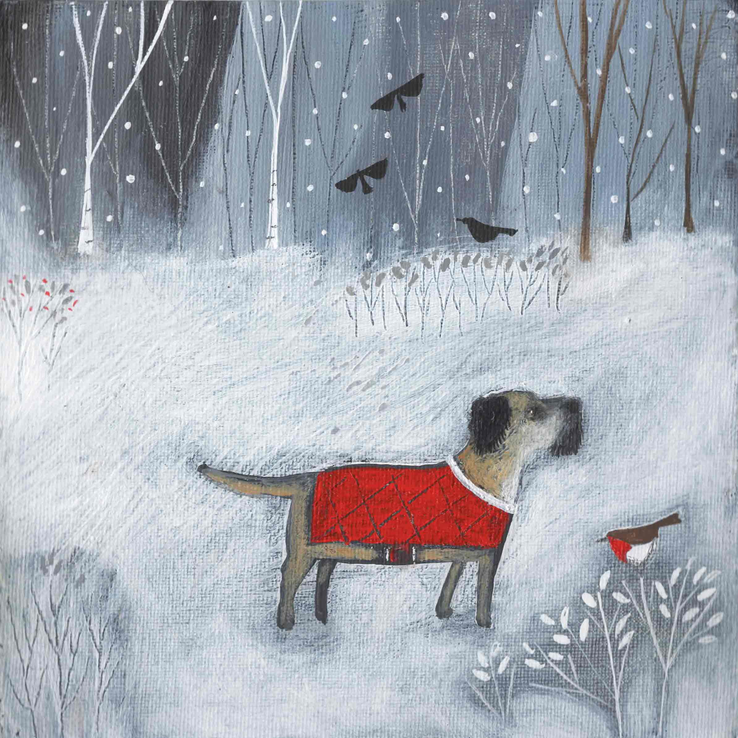 Fine Art Greeting Card by Louise Rawlings, Gouache and Acrylic, Dog in red coat in the snow