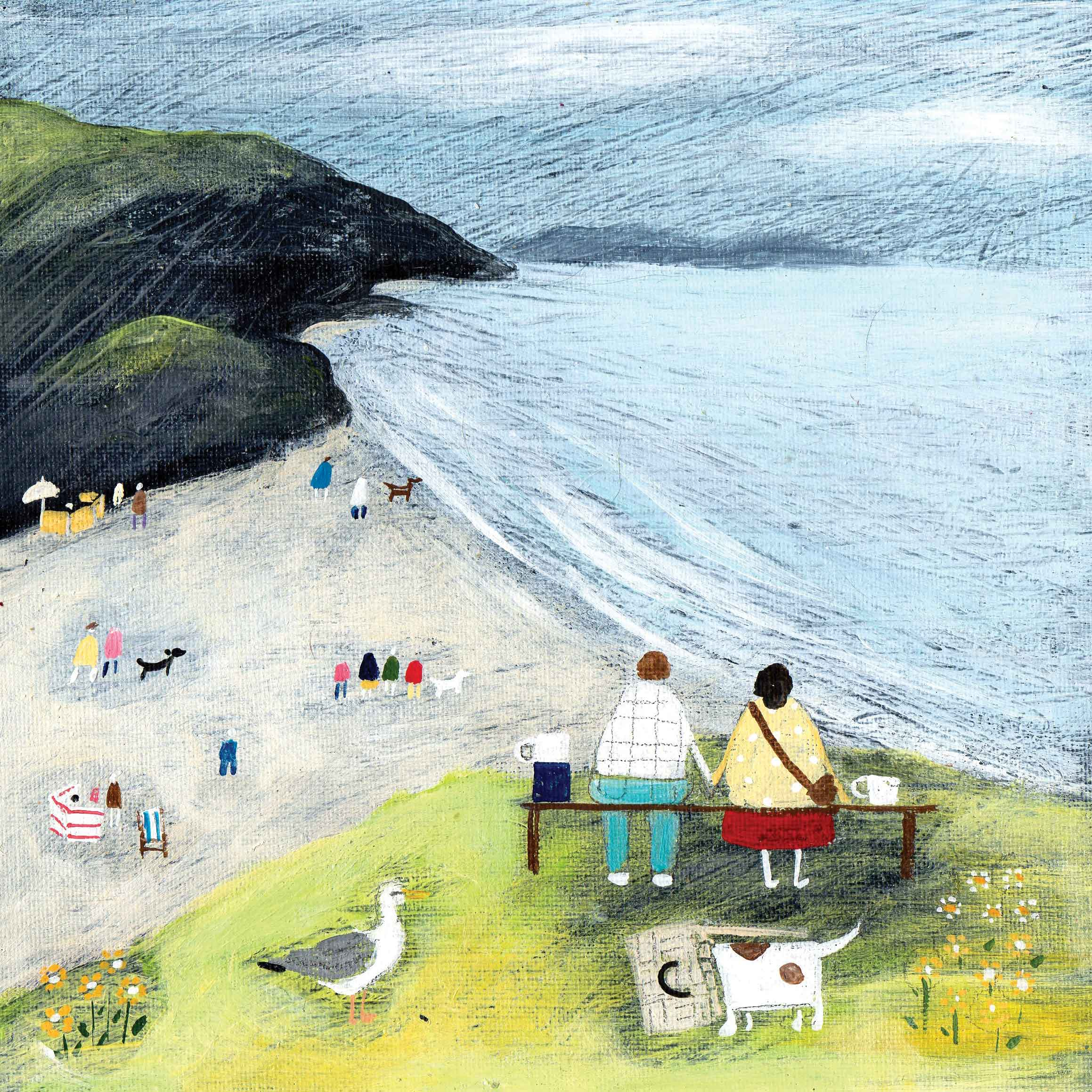 Art greeting card by Louise Rawlings, Perfect Day, Acrylic & gouache, beach scene with people and dogs, couple holding hands
