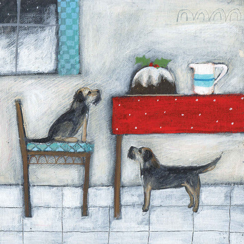 Christmas card pack by Louise Rawlings, The Splendid Pudding, acrylic and gouache, two border terriers watching a big Christmas pudding