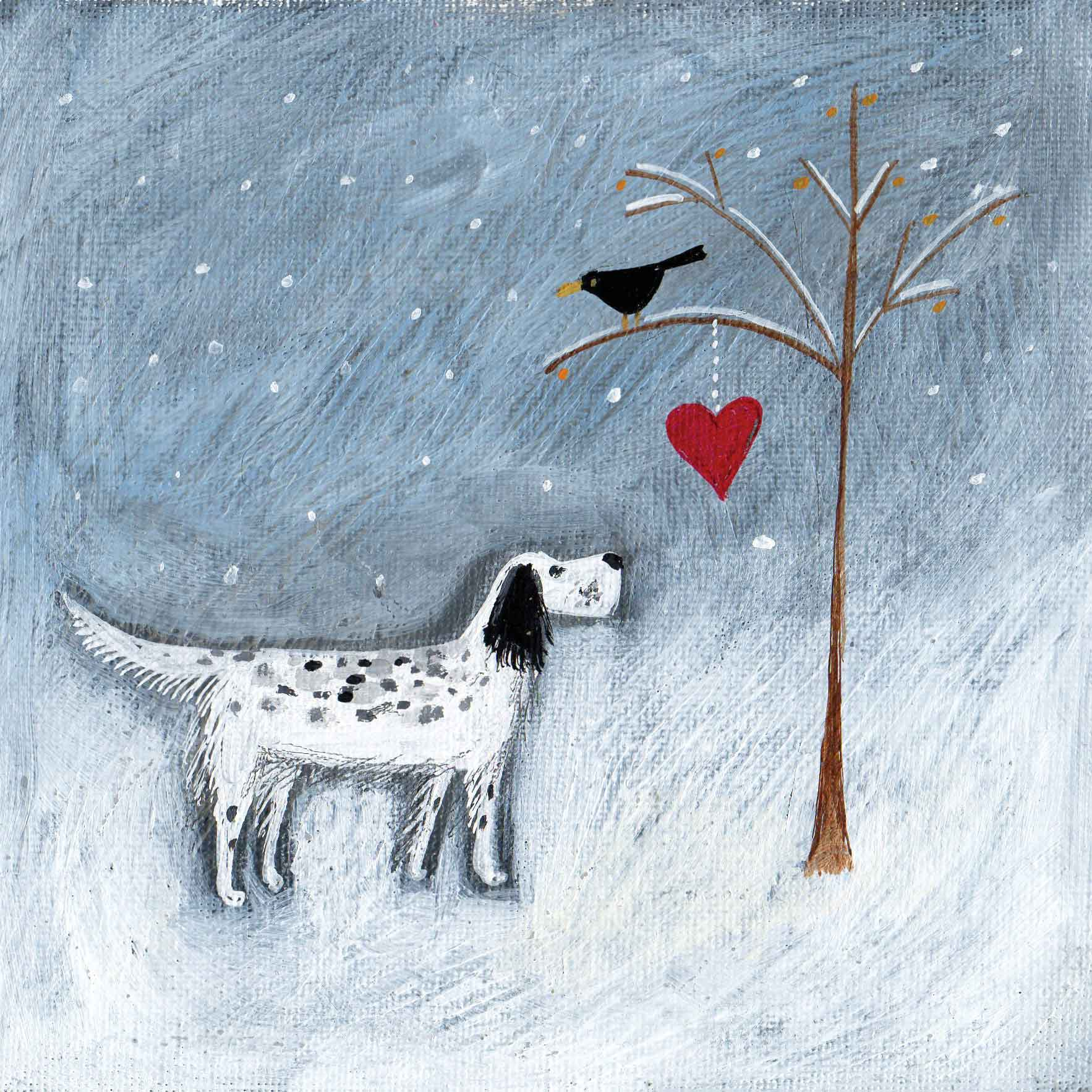 Art greeting card by Louise Rawlings, Hello Mr Blackbird, acrylic & gouache, winter scene with dog and blackbird
