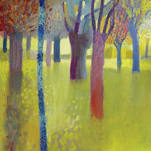Art Greeting Card by Malcolm Ashman, Summer Park, Oilpainting, Trees in park