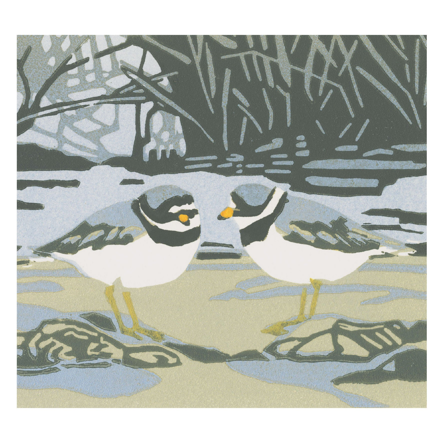 Poo-eep by Max Angus, Fine Art Greeting Card, Linocut, Two ringed plovers