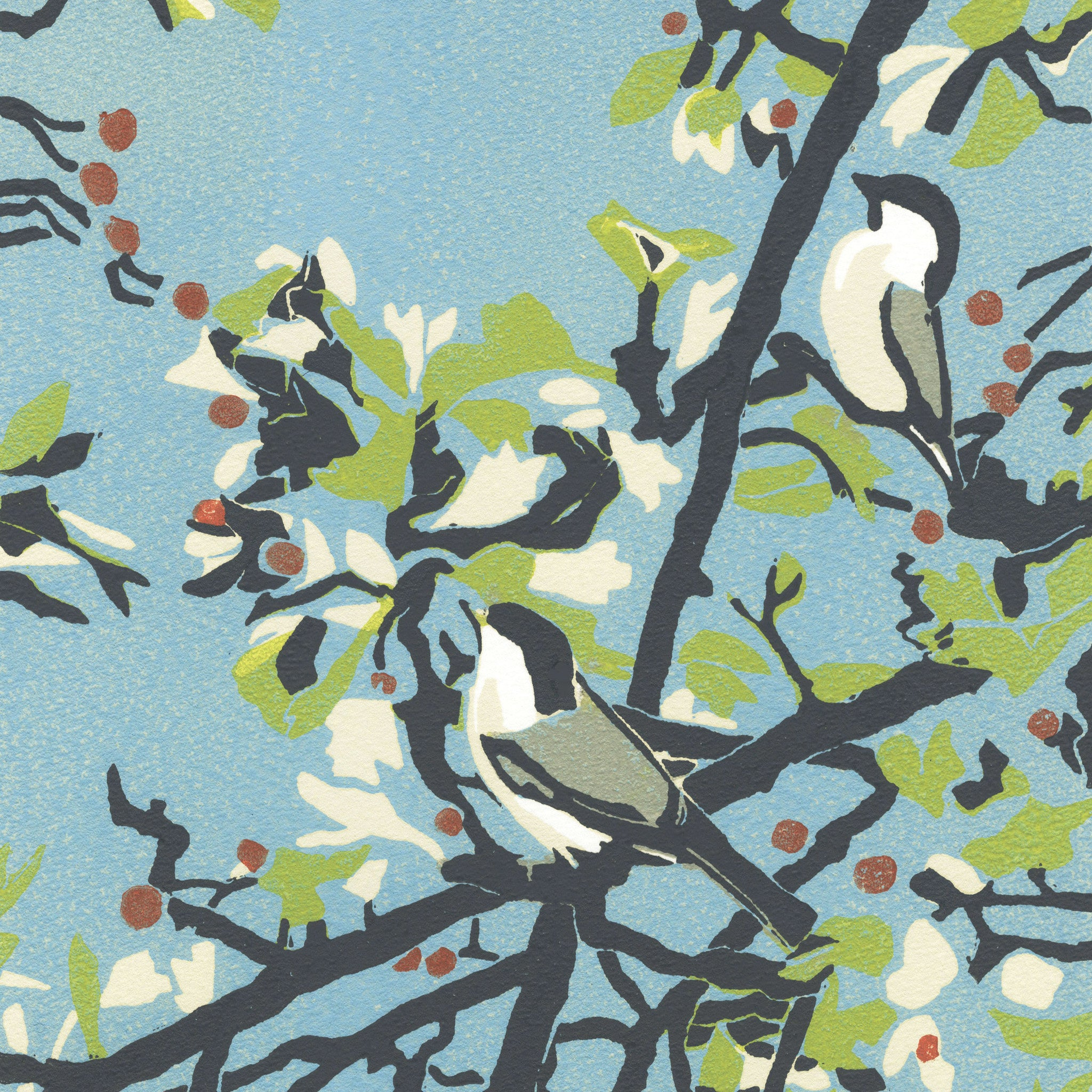 Willow Tits by Max Angus, Art Greeting Card, Linocut, Willow tits on branches
