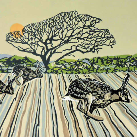 Art Greeting Card by Max Angus, Alexander and the Racing Hares, Linocut, Hares running over field